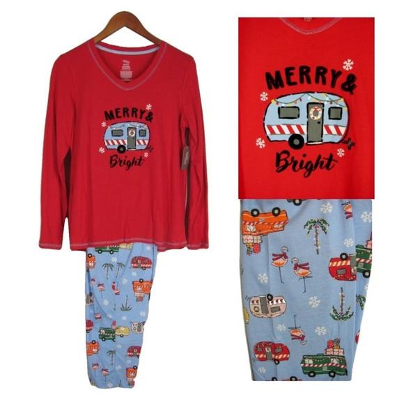 RV Happy Camper S Christmas Pajama Set New. NWT. Secret Treasures 273067d3e